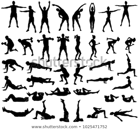 Set of boy and girl stretch Stock photo © colematt
