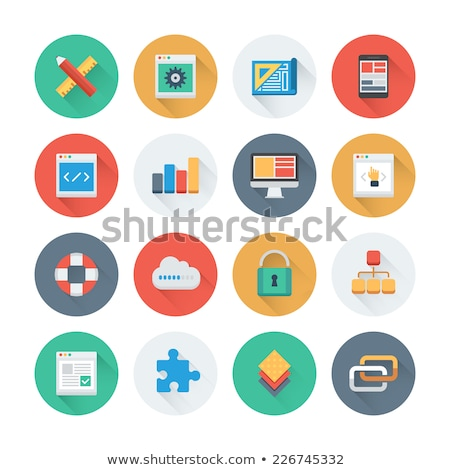Analytics Statistics Icons in Flat Style Vector Stock photo © robuart