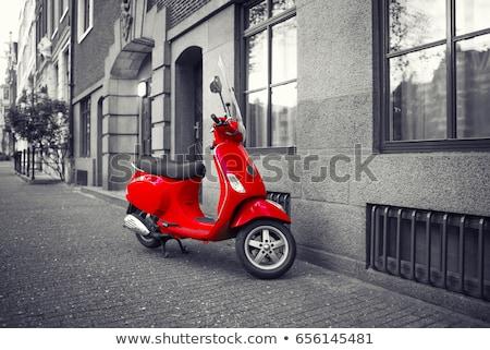 retro · vermelho · bicicleta · motocicleta · alugar - foto stock © matimix