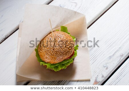 Burger Fast Food Served in Paper, Bistro Meal Stock photo © robuart