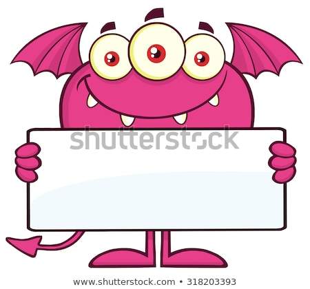 Stock photo: Smiling Pink Monster Cartoon Character Holding A Blank Sign