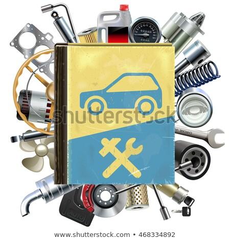 Wektora stary samochód naprawy książki samochodu Zdjęcia stock © dashadima