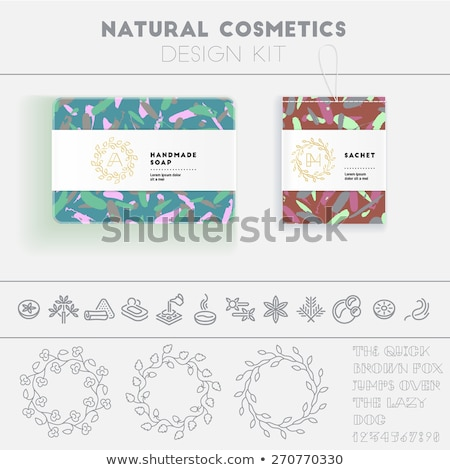 vector seamless pattern with green and blue leaves for packaging design for natural and eco products stock photo © pravokrugulnik