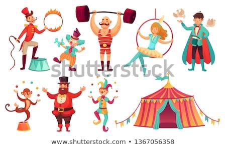 Szett majom zsonglőrködés labda illusztráció terv Stock fotó © colematt
