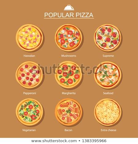 vector · ingesteld · pizza · ontwerp · teken · kaas - stockfoto © olllikeballoon