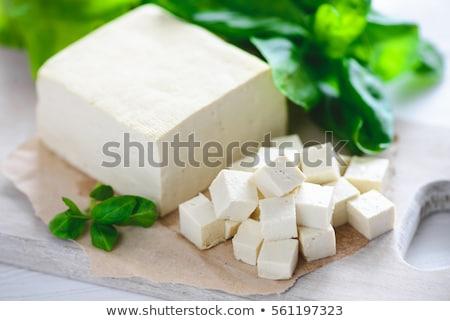 Tofu queijo tigela tabela azul prato Foto stock © tycoon
