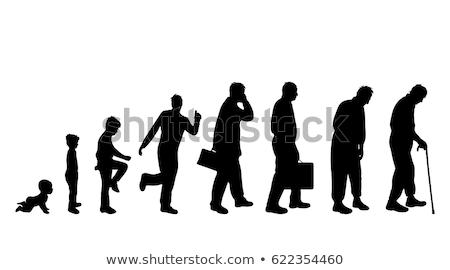 Leeftijd evolutie silhouetten kinderen vrouwen lichaam Stockfoto © lemony