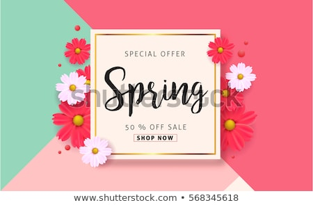 Poster Spring Sale, Discount Label, Flower Vector Stok fotoğraf © robuart