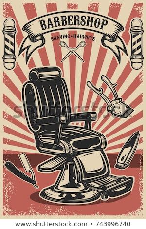 Barbero tienda anunciante peluquero corte afeitarse Foto stock © robuart