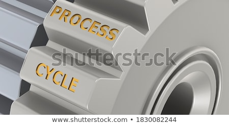 Continuous Production on Golden Cog Gears. 3D Illustration. Stock photo © tashatuvango