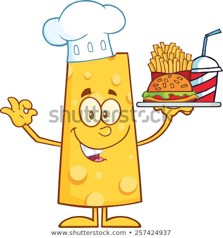 Chef Cheese Cartoon Character Holding A Hamburger With Drink And French Fries Stock photo © hittoon