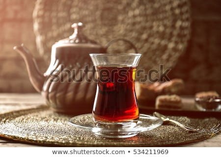 Fekete török tea hagyományos szemüveg tálca Stock fotó © grafvision