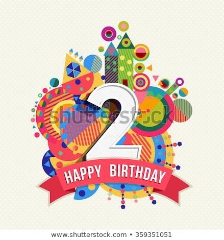 Második évforduló születés ünneplés szám vektor Stock fotó © pikepicture