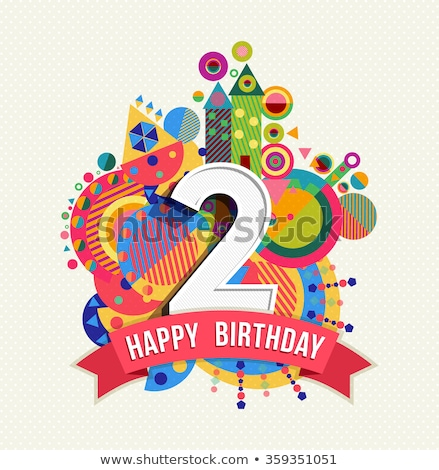 Segundo aniversario nacimiento celebración número vector Foto stock © pikepicture