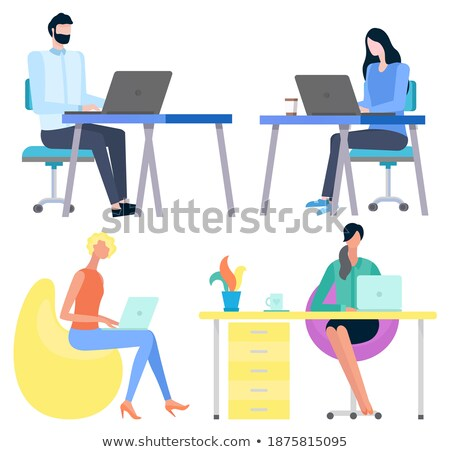 Portrait View of Workers, Using Gadgets Vector Stock photo © robuart
