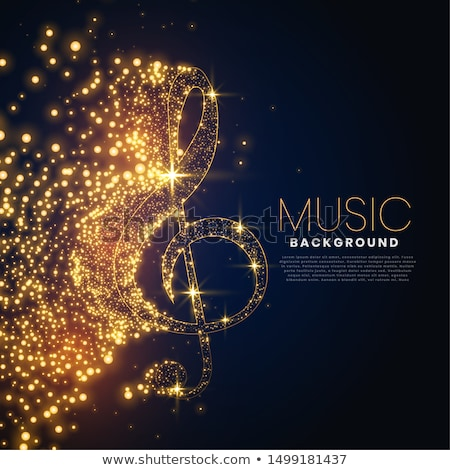 musical flyer template with golden sound notes Stock photo © SArts