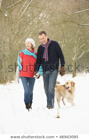 Senior Couple Walking Through Snowy Woodland Stock photo © monkey_business