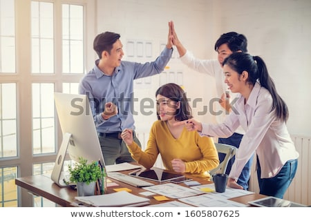 Startup Men Developers Giving High Five Website Stock photo © robuart