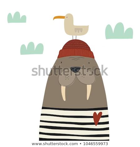 sketch cute walrus vector illustration in doodle style stock photo © arkadivna