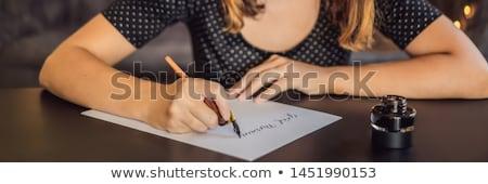Fiatal nő kifejezés fehér papír jóreggelt díszítő Stock fotó © galitskaya