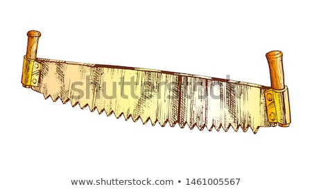 color old model of two handed saw for sawing logs vector stock photo © pikepicture
