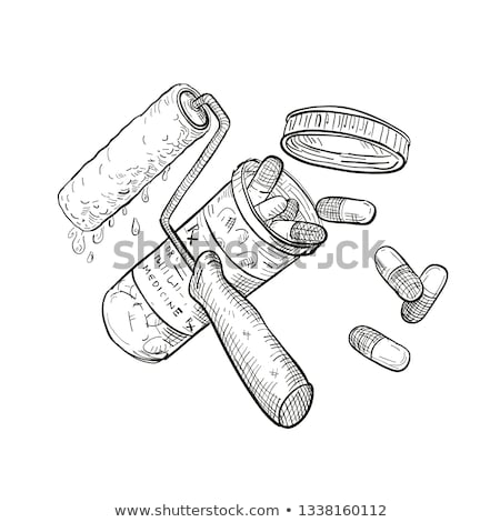 Paint Roller Medicine Pill Bottle Drawing Black and White Stock photo © patrimonio