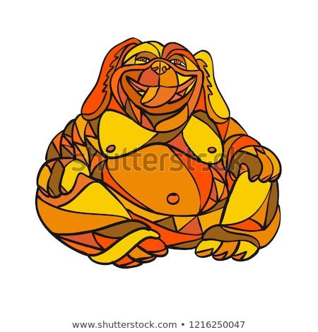 Nevet Buddha kutya mozaik szín alacsony Stock fotó © patrimonio