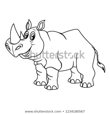 счастливым носорог характер страница черно белые Cartoon Сток-фото © izakowski