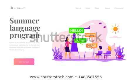 Language learning camp landing page template Stock photo © RAStudio