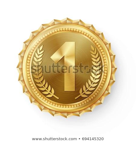 Medalha de ouro primeiro lugar vermelho 3D 3d render Foto stock © djmilic