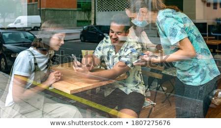 ristorante · terrazza · elegante · Coppia · romantica · felice - foto d'archivio © dolgachov