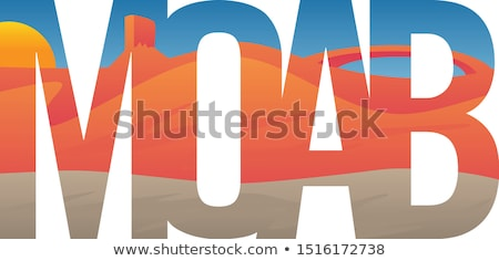 Moab Scene with Red Rocks, Mesa and Arch, Typography Vector Illustration stock photo © jeff_hobrath