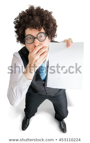 Umutsuz adam beyaz boş haber Stok fotoğraf © lichtmeister