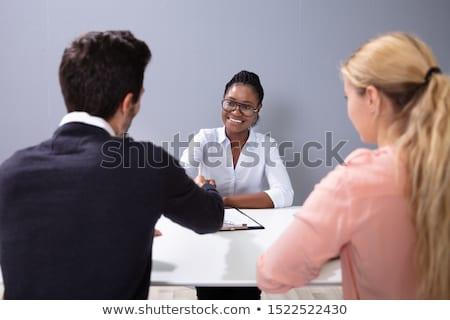 Paar interview adoptie agentschap vergadering praten Stockfoto © AndreyPopov