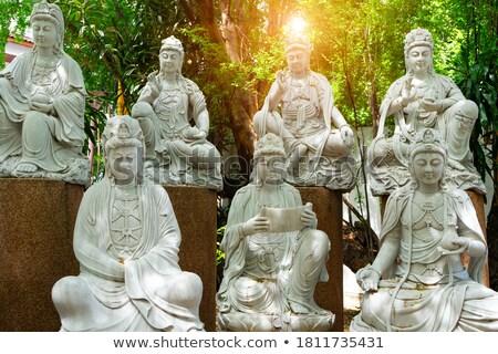 Standbeeld godin Thailand gouden Rood pagode Stockfoto © vapi