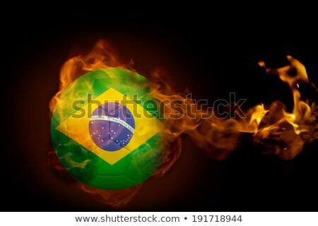 футбольным мячом огня Бразилия флаг иллюстрация Футбол Сток-фото © doomko