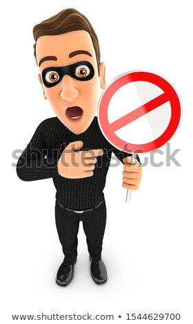 3d thief holding forbidden road sign Stock photo © 3dmask
