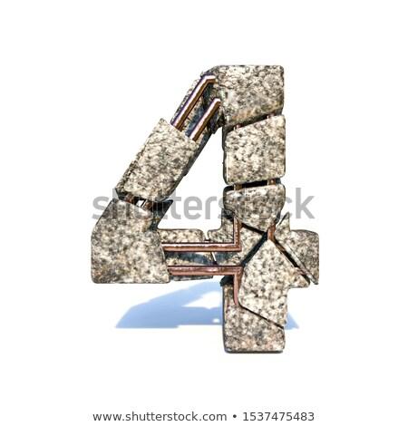 Beton breuk doopvont aantal vier 3D Stockfoto © djmilic