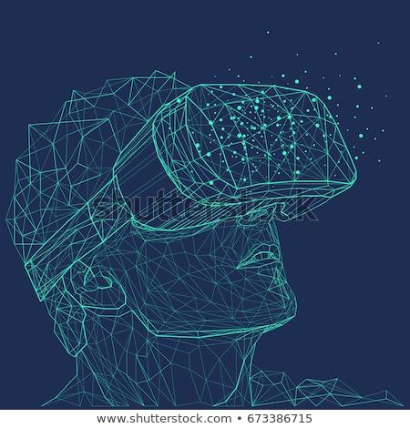 Feliz homem virtual realidade fone óculos Foto stock © dolgachov