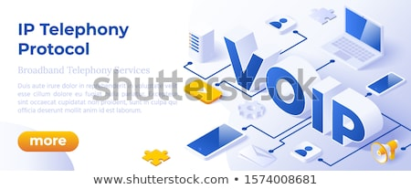 Voip Ip Telephony Services - Isometric Vector Concept Illustration Foto stock © Tashatuvango