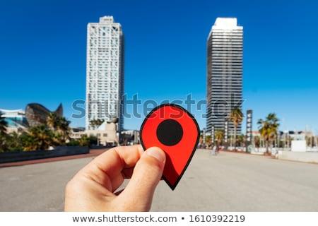 Piros jelző kikötő Barcelona közelkép kéz Stock fotó © nito
