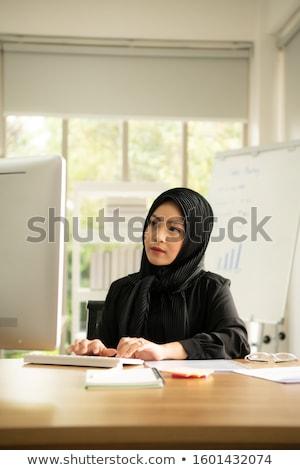 Stockfoto: Gelukkig · moslim · zakenvrouw · hijab