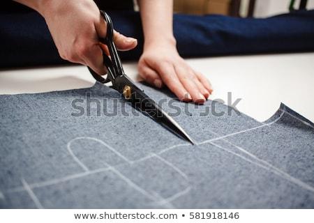 Mujer tejido sastre tijeras mesa Foto stock © Kzenon