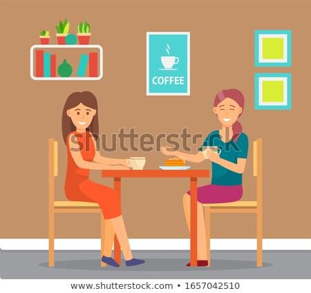 Persone home reception amici parlare mangiare Foto d'archivio © robuart