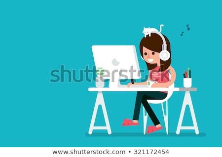 Rajz számítógép grafikus illustrator lány gyönyörű Stock fotó © Voysla