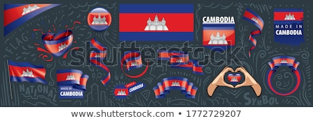 Vector ingesteld vlag Cambodja creatieve Stockfoto © butenkow