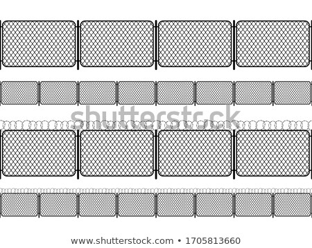 Set of chain link fence with barbed wire, black seamless silhouettes isolated on white Stock photo © evgeny89