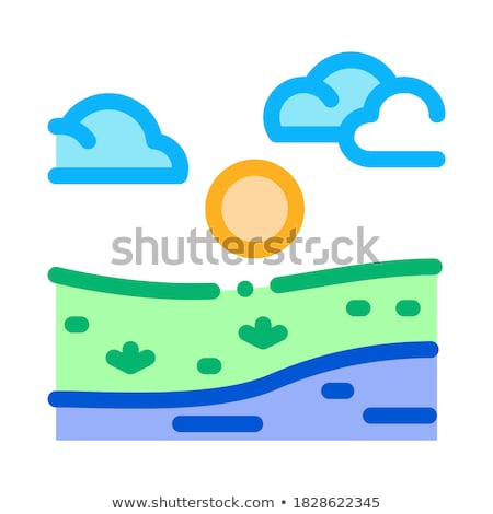 current river among urban city icon vector outline illustration Stock photo © pikepicture