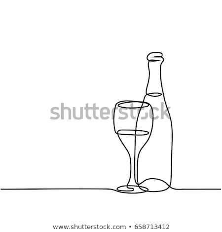 Kroki şişe şarap yalıtılmış beyaz vektör Stok fotoğraf © Arkadivna