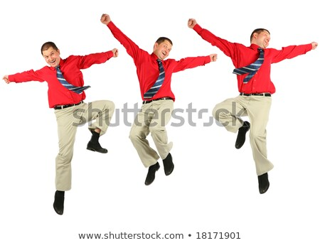 Contented dynamic businessman in red shirt jumps Stock photo © Paha_L